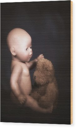 Doll And Bear Wood Print by Joana Kruse