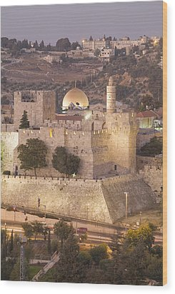 Dome Of The Rock With Tower Of David Wood Print by Richard Nowitz