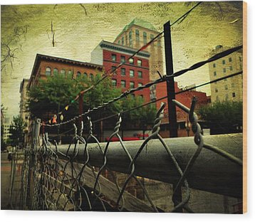 Down The Fence Wood Print by Cathie Tyler