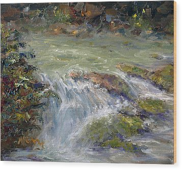 Downstream Wood Print by Marie Green