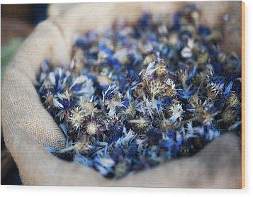 Dried Blue Flowers In Burlap Bag Wood Print by Alexandre Fundone