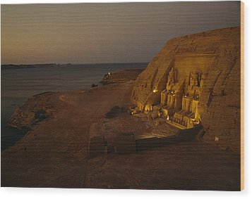 Dusk Descends On Abu Simbel With Lake Wood Print by O. Louis Mazzatenta