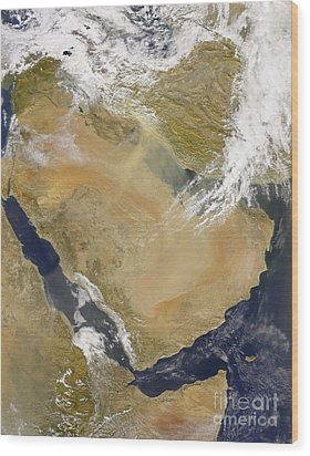 Dust And Smoke Over Iraq And The Middle Wood Print by Stocktrek Images