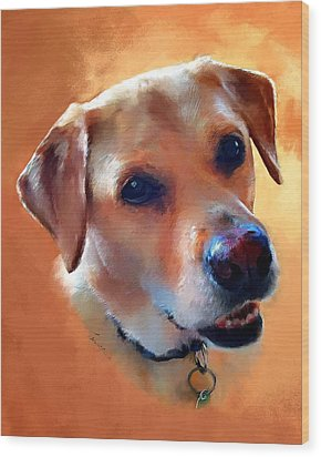 Dusty Labrador Dog Wood Print by Robert Smith