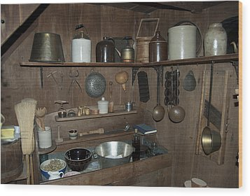 Early American Utensils Wood Print by Michael Peychich