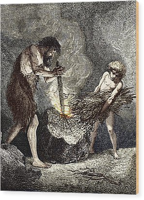 Early Humans Making Fire Wood Print by Sheila Terry