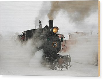 Early Morning Winter Steam Up Wood Print by Ken Smith