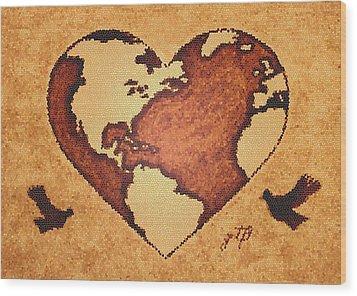 Earth Day Gaia Celebration Digital Art Wood Print by Georgeta  Blanaru