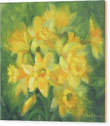 Easter Daffodils Wood Print by Karin  Leonard