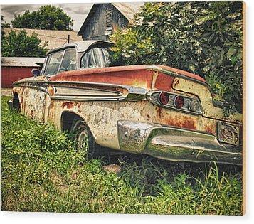 Edsel In The Weeds Wood Print by Jon Herrera