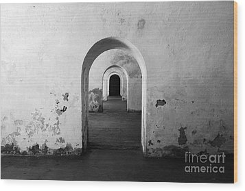 El Morro Fort Barracks Arched Doorways San Juan Puerto Rico Prints Black And White Wood Print by Shawn O'Brien