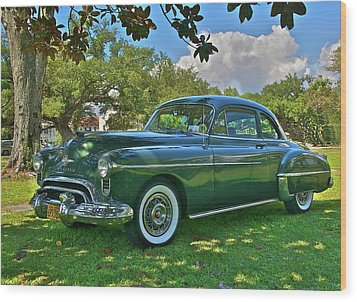 Emerald Oldsmobile Under The Magnolias Wood Print by Mike  Capone