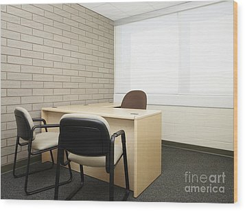 Empty Desk In An Office Wood Print by Skip Nall