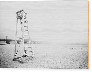 Empty Life Guard Tower 2 Wood Print by Skip Nall
