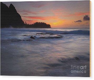 Engulfed By The Sea Wood Print by Mike  Dawson