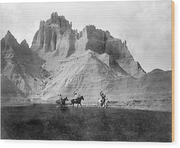 Entering The Badlands, Three Sioux Wood Print by Everett