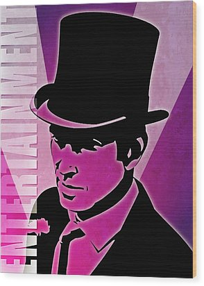 Entertainment Poster With Man In Top Hat Wood Print by Photos.com