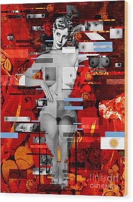 Eva Peron Nude En Rouge Wood Print by Karine Percheron-Daniels