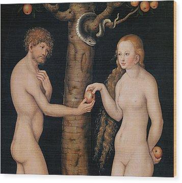 Eve Offering The Apple To Adam In The Garden Of Eden Wood Print by The Elder Lucas Cranach