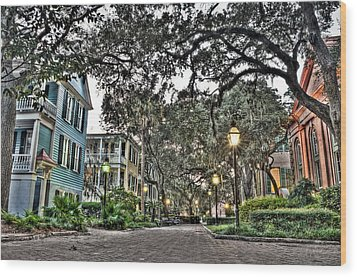 Evening Campus Stroll Wood Print by Andrew Crispi