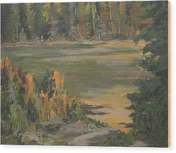 Evening Marsh Wood Print by Mike Stocker
