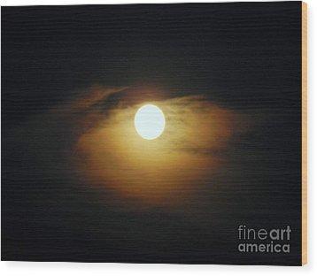 Eye Moon Wood Print by Mariana Robu