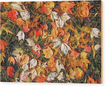 Fall Autumn Leaves On Water Wood Print by Randy Steele
