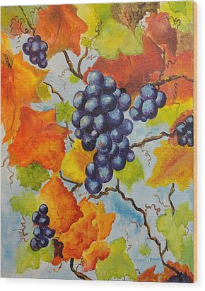 Fall Grapes Wood Print by Carole Powell