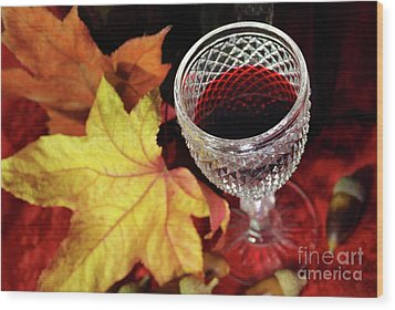 Fall Red Wine Wood Print by Carlos Caetano