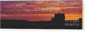 Farm Sunset Wood Print by Joe Sohm and ChromoSohm and Photo Researchers