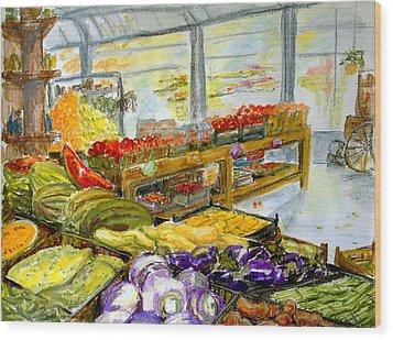 Farmer's Market In Fort Worth Texas Wood Print by Barbara Pommerenke