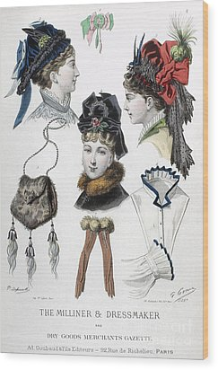 Fashion: Hats, C1875 Wood Print by Granger