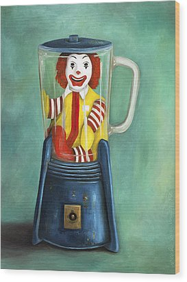 Fast Food Nightmare 2 The Happy Meal Wood Print by Leah Saulnier The Painting Maniac