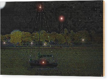 Fat Moon Bay Wood Print by David Lee Thompson