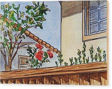 Fence And Roses Sketchbook Project Down My Street Wood Print by Irina Sztukowski