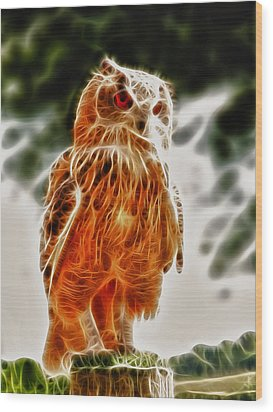 Fire Owl V1 Wood Print by Tilly Williams