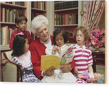 First Lady Barbara Bush Reads Wood Print by Everett