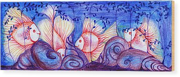 Fishes Wood Print by Hong Diep Loi
