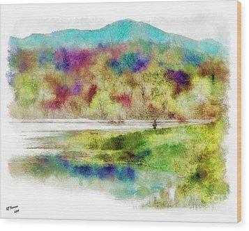 Fishing - Watson Lake Wood Print by Arne Hansen
