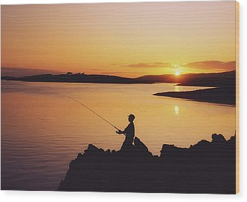 Fishing At Sunset, Roaring Water Bay Wood Print by The Irish Image Collection