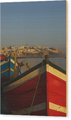 Fishing Boats In Front Of Kasbah Des Wood Print by Axiom Photographic
