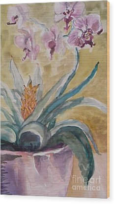 Five Purple Orchids  Wood Print by Emily Michaud