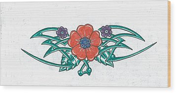 Floral Trible Wood Print by Kevin Lea