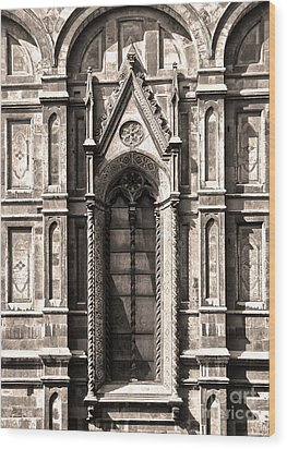 Florence Italy - Duomo Stained Glass - 02 - Sepia Wood Print by Gregory Dyer