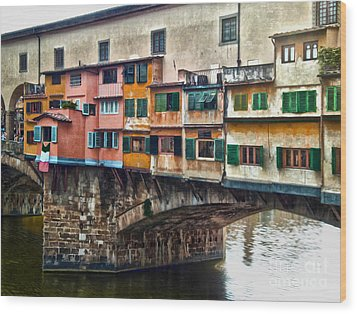 Florence Italy - Ponte Vecchio Wood Print by Gregory Dyer