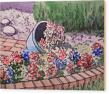 Flower Bed Sketchbook Project Down My Street Wood Print by Irina Sztukowski