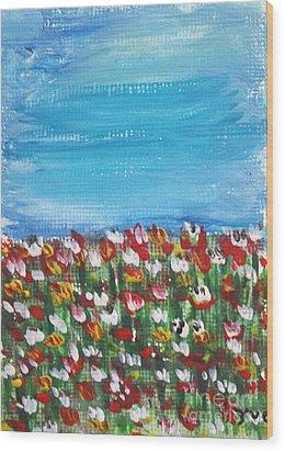 Flowers In Garden Wood Print by Yvo Tenerife