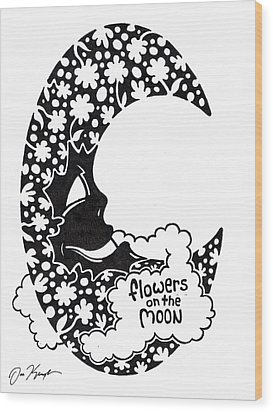 Flowers On The Moon Wood Print by Dan Keough