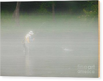 Fog Fishing Wood Print by Cindy Tiefenbrunn