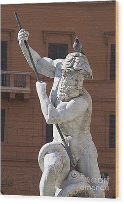 Fontana Del Nettuno. Neptune Fountain. Piazza Navona. Rome Wood Print by Bernard Jaubert